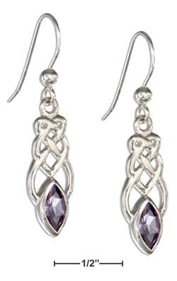 sterling silver elongated celtic knot earrings with amethyst
