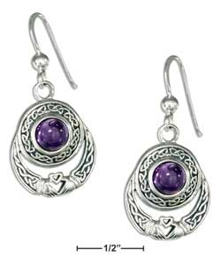 sterling silver celtic claddagh earrings with amethyst