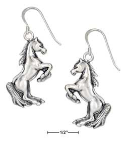 sterling silver rearing horse earrings on french wires