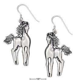 sterling silver slender standing horses earrings on french wires