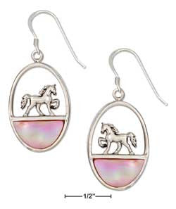 sterling silver oval horse earrings with pink mussel shell inlay