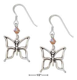 sterling silver open butterfly earrings with orange swarovski crystals