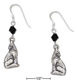 sterling silver howling wolf earrings with black swarovski crystal