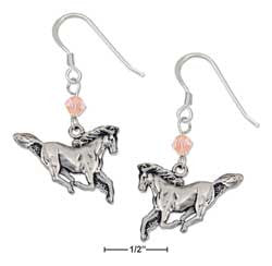 sterling silver antiqued galloping horse earrings with orange swarovski crystal