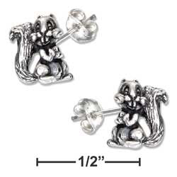 sterling silver mini bucktooth squirrel earrings-posts