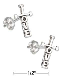 "sterling silver mini ""Love"" cross earrings-posts"