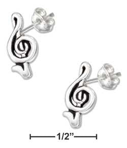 sterling silver mini music G-cleff earrings-posts
