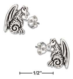 sterling silver mini sitting dragon-posts