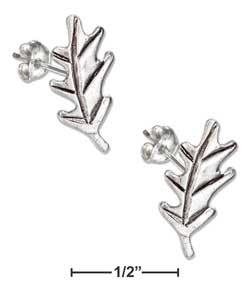 sterling silver mini oak leaf earrings-posts