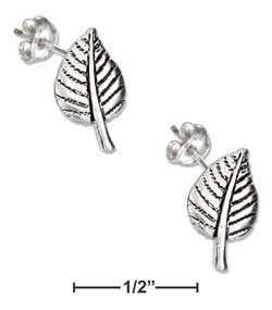 sterling silver mini aspen leaf earrings-posts