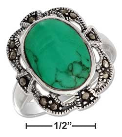 sterling silver oval reconstituted turquoise w filigree marcasite border ring