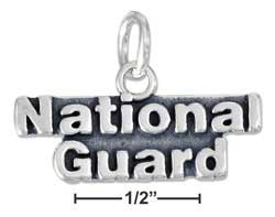 "sterling silver antiqued "" national guard"" charm"
