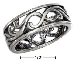 sterling silver antiqued cutout swirls band ring