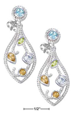 sterling silver citrine peridot and topaz earrings