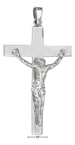 sterling silver high polish extra large crucifix pendant