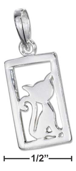sterling silver framed cat silhouette pendant