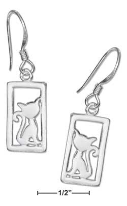 sterling silver framed cat silhouette earrings on french wires