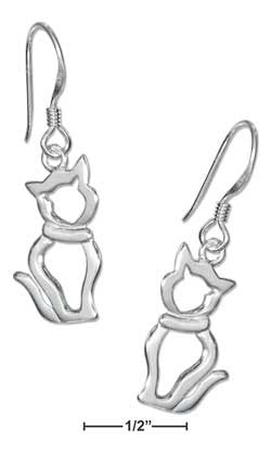 sterling silver sitting cat silhouette earrings on french wires