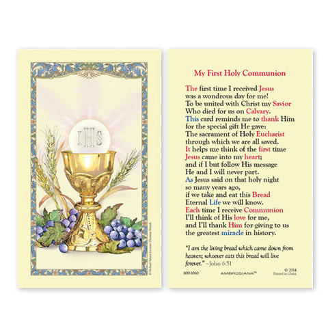 First Communion laminated Holy Card