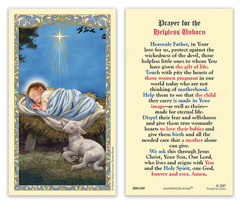 Christ In The Manger Laminated Holy Card