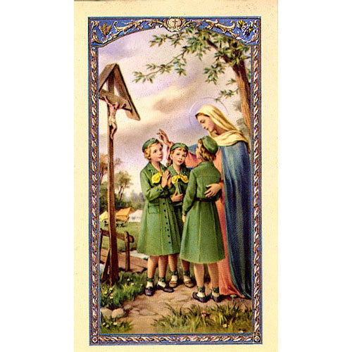 Madonna with girl scouts Holy Card (25 card set)
