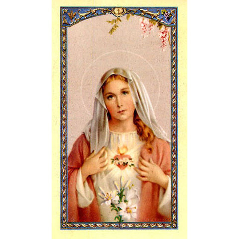 Immaculate Heart of Mary Holy Card (25 card set)
