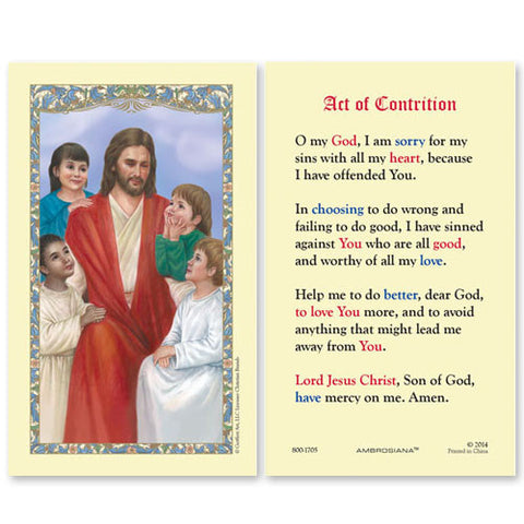 Christ with children (Act of Contrition) laminated Holy Card (25 card set)