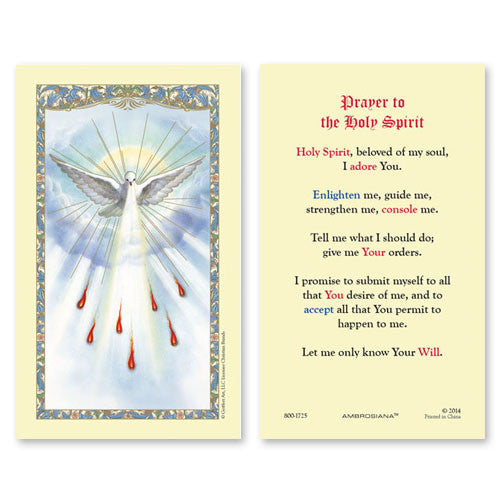 Holy Spirit (Confirmation prayer) laminated Holy Card