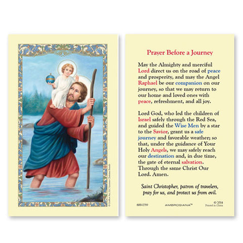 Saint Christopher (Prayer Before A Journey) Holy Card