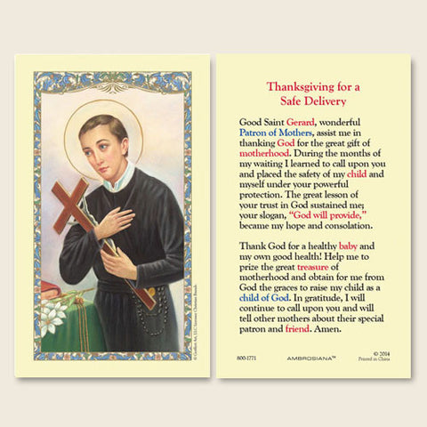 Saint Gerard (Thanksgiving Novena for a Safe Delivery) Holy Card (25 card set)