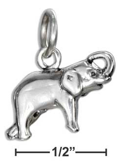 sterling silver elephant charm with raised trunk