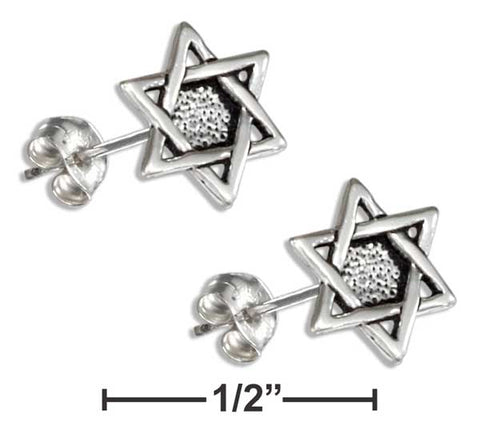 Sterling Silver Mini Star Of David Earrings On Stainless Steel Posts and Nuts