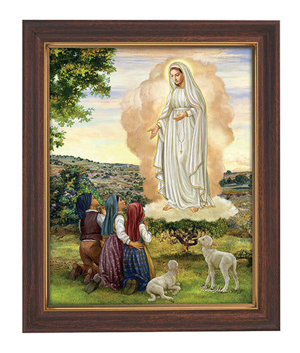Our Lady of Fatima Woodtone Finish Framed Print