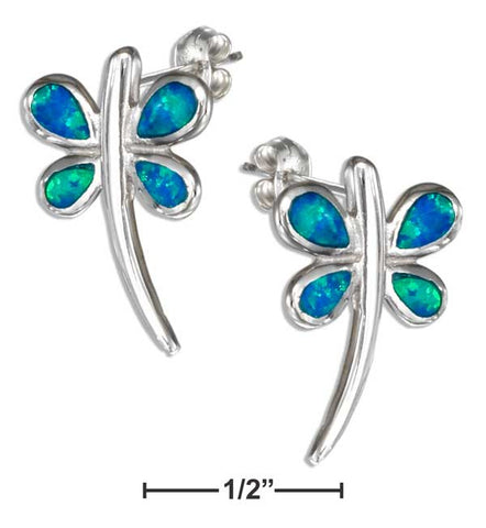 Sterling Silver Synthetic Blue Opal Dragonfly earrings