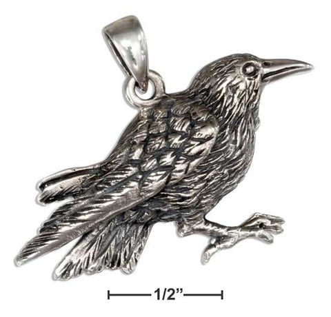 Sterling Silver Antiqued Raven Pendant