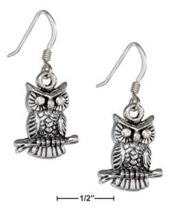 sterling silver antiqued owl earrings