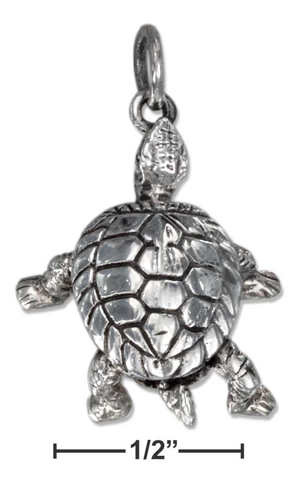 Sterling Silver Turtle Pendant With Movable Parts
