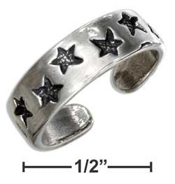 Sterling Silver Antiqued Stars Toe Ring