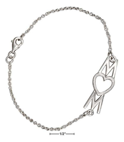 "Sterling Silver 7.5"" MOM With Heart Bracelet"
