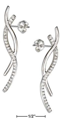 sterling silver pave cubic zirconia curves earrings