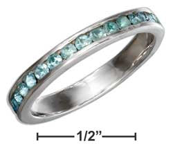 sterling silver march birthstone light blue crystals eternity band ring