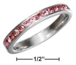 sterling silver october birthstone pink crystals eternity band ring