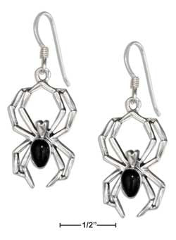 sterling silver spider earrings w simulated black onyx body