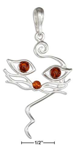 sterling silver honey amber cat face pendant