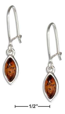 sterling silver marquise honey amber dangle earrings