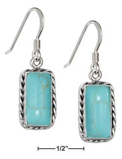 sterling silver rectangle sim turquoise earrings with rope borde
