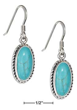 sterling silver oval simulated turquoise earrings with rope border