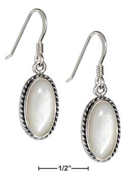 sterling silver oval mother of pearl earrings with rope border