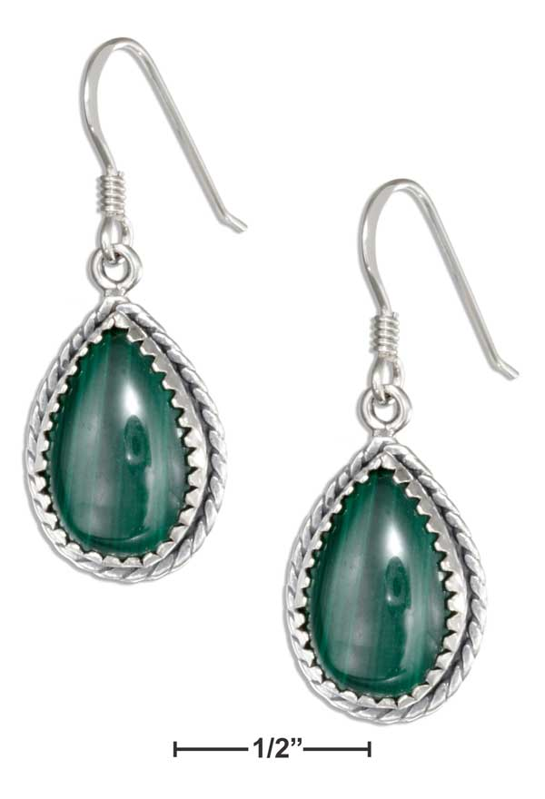 Sterling Silver Simulated Malachite Teardrop Earrings With Rope Edge