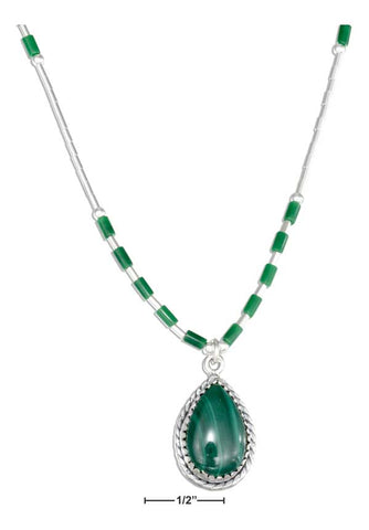 "Sterling Silver 16"" Liquid Silver Teardrop Simulated Malachite Necklace"